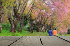 Defocused and blur image of terrace wood and beautiful garden. For background usage Stock Photography