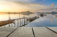 Defocused and blur image of terrace wood and beautiful seascape. And morning view for background usage Royalty Free Stock Photos