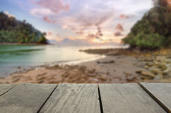 Defocused and blur image of terrace wood and beautiful seascape. And sunset view for background usage Stock Photos