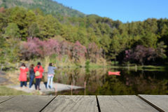 Defocused and blur image of terrace wood and Mountain and brook Royalty Free Stock Photography