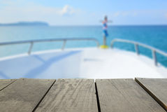 Defocused and blur image of terrace wood and seascape scenery. View for background usage Stock Photo