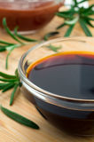 Defocused and blurred image of soy sauce Stock Photo