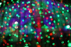 Defocused bokeh of LED lights in new year night royalty free stock photos