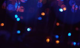 Defocused bokeh of LED lights in new year night royalty free stock photo