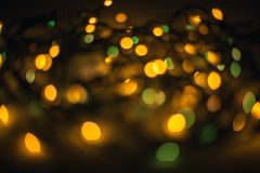 Defocused bokeh lights effect in night. City Stock Photo