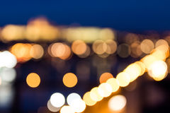 Defocused bokeh of Prague and Vltava river from Vysehrad - Roman Royalty Free Stock Photography