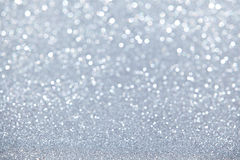 Defocused Bokeh Silver Sparkles Stock Photography