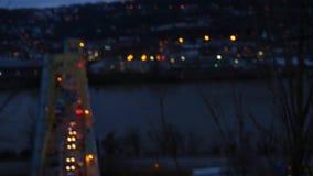 Defocused Bokeh Timelapse of Bridge Traffic at night.  stock footage