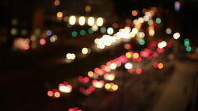 Defocused car lights in city at night Royalty Free Stock Photos
