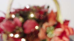 Defocused  Christmas Basket stock video footage