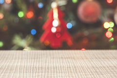 Defocused Christmas tree background Stock Photo