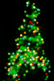 Defocused Christmas tree lights stock photo