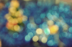 Defocused Christmas Tree Lights in blue background Stock Images