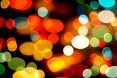 Christmas lights background. Defocused Christmas tree ornaments for holiday backgrounds Stock Images