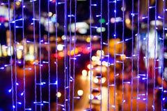 Defocused da cidade abstrata urbana bonita do bokeh da textura ilumina-se foto de stock