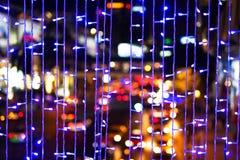 Defocused da cidade abstrata urbana bonita do bokeh da textura ilumina-se fotografia de stock royalty free