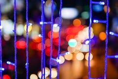 Defocused da cidade abstrata urbana bonita do bokeh da textura ilumina-se imagens de stock royalty free
