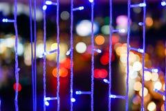 Defocused da cidade abstrata urbana bonita do bokeh da textura ilumina-se fotografia de stock