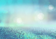 Defocused empty space with nice bokeh effect and glittering background. Blue backdrop Stock Images