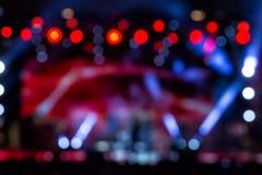 Defocused entertainment concert lighting on stage, bokeh. Royalty Free Stock Image