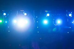 Defocused entertainment concert lighting on stage, bokeh. Royalty Free Stock Photo