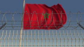 Defocused falowanie flaga Maroko za drutu kolczastego ogrodzeniem Loopable 3D animacja zbiory wideo