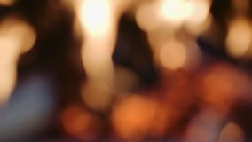 Defocused fireplace with bokeh effect stock video
