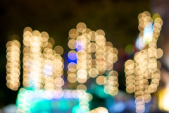 Defocused of gold glitter or bokeh circle at night Stock Photography
