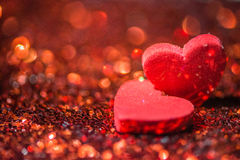 Defocused Heart and abstract red Bokeh lights . Defocused Heart and abstract red Bokeh lights background Royalty Free Stock Photography