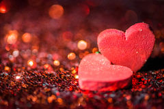 Defocused Heart and abstract red Bokeh lights. Royalty Free Stock Photography