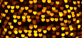 Defocused heart lights Royalty Free Stock Image