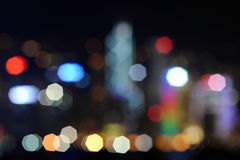Defocused image of Hong Kong skyscrapers Stock Photos