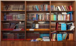 Defocused image. Multi-colored books on the bookshelf in the library. The bokeh effect Royalty Free Stock Photo