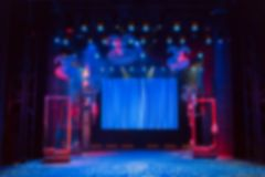 Defocused image. Scenery, led screen and lighting equipment on the stage royalty free stock images
