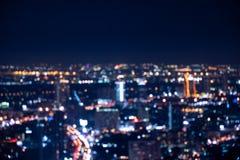 Defocused Lichter in der Bangkok-Stadt in Thailand lizenzfreie stockfotografie