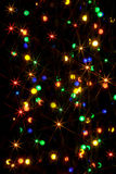 Defocused lights. Christmas Lights Isolated On Black Stock Photography