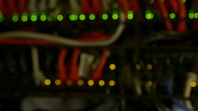 Defocused Lights Of Modern Working Data Servers With Cables And Flashing LED Lights stock video footage