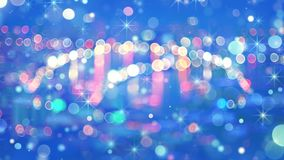 Defocused lights of night City and fairy dust. Defocused lights of night City and falling fairy dust. Computer generated abstract festive background Royalty Free Stock Photo