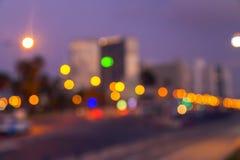 Defocused miast światła Tel Aviv Zdjęcia Stock