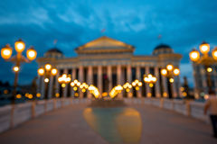 Defocused National archaeological museum in Skopje. With evening light Royalty Free Stock Photo