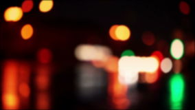 Defocused night traffic colorful lights stock video footage