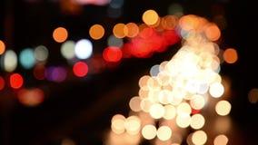 Defocused night traffic lights-Bangkok.  stock footage