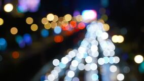 Defocused night traffic. Lights at Bangkok street.  Night stock footage shot stock video
