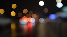 Defocused night traffic lights stock video footage