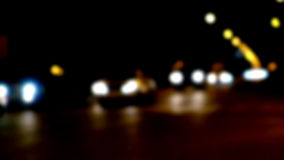 Defocused night traffic lights Stock Photo