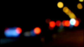 Defocused night traffic lights. Blurred abstract background Royalty Free Stock Photography