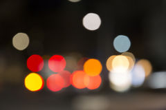 Defocused night traffic lights, blurred abstract background Royalty Free Stock Photo
