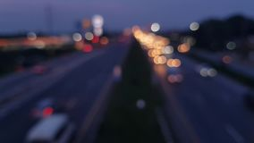 Defocused night traffic lights from cars. Defocused night traffic lights from cars ,  Abstract blur background stock video footage