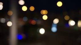 Defocused night traffic lights stock footage