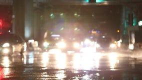 Defocused night traffic lights on a Rainy Day in Samutprakarn,Thailand. With Rain Reflection stock video